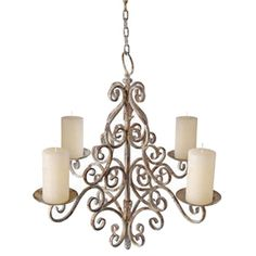 This  stunning aged metal chandelier is beautiful hanging from a tree in any garden or hung over a patio table for a romantic dinner. Holds four large candles.  Spikes on the base of each candle holde...