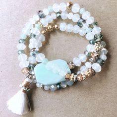 Semi Precious Tassel Wrap Bracelet by DecidedlySoDesigns on Etsy
