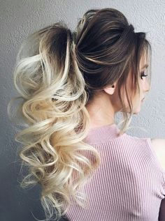 Fantastic Brunette to Blonde Pony Hairstyles 2019 for Prom - hair_styleideas_pinterey Blonde Pony, Brunette To Blonde, Brunette Highlights, Pony Hairstyles, Wedding Hairstyles, Latest Hairstyles, Ponytail Hairstyles For Prom, Pretty Hairstyles, Teenage Hairstyles
