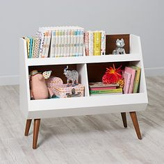 Shop Next Chapter Modern Bookcase (Walnut/White). Our Next Chapter modern bookcase features contrasting colors of walnut and white and its bottom bins are perfect for storing books & toys. Modern Bookcase, Bookshelves Kids, Bookshelf Ideas, Creative Toy Storage, Storage Design, Storage Ideas, Book Storage, Nursery Inspiration, Crate And Barrel