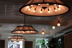 NYC Peels Restaurant / Milk Glass Lighting by Robert True Ogden