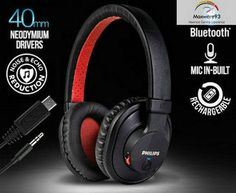 Philips Wireless Bluetooth Stereo Over-Ear Mic Headphone Headset - Black/White Beats Headphones, Over Ear Headphones, Mp3 Player, Headset, Bluetooth, Black White, Tech, Ebay, Headphones