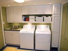 Garage Laundry Rooms, Laundry Room Remodel, Laundry Room Cabinets, Laundry In Bathroom, Kitchen Cabinets, Cupboards, Kitchen Tips, Diy Kitchen, Basement Laundry
