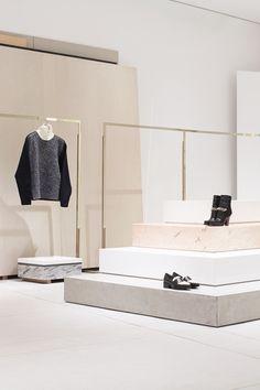 Phillip Lim retail design store, very minimal, classy yet chic. This space embodies Phillip Lim& aesthetic and brand identity. Retail Interior Design, Retail Store Design, Retail Shop, Interior Exterior, Boutique Design, Commercial Design, Commercial Interiors, Store Concept, Fashion Showroom