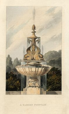 The print shows a Classic design in English FOUNTAINS using DOLPHINS supporting a finial tier ending with a PINEAPPLE - a sign of friendship and hospitality that was used in this Georgian period as a frequent embellishment.  Below the main pool shows SHELLS decorating the structure, again probably in the glorious Bath stone, so loved in this and later periods of English architecture.    This image originally dates from 1800's.