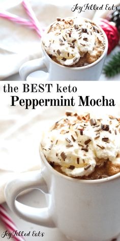 A warm, decadent peppermint mocha is my favorite way to warm up on a cold winter day! Perfectly chocolaty, with a hint of coffee and a touch of cool mint this Keto Peppermint Mocha Recipe is going to knock your wool socks off! Keto Friendly Desserts, Low Carb Desserts, Low Carb Recipes, Dessert Recipes, Dessert Ideas, Snacks Für Party, Keto Snacks, Mocha Recipe, Starting Keto Diet