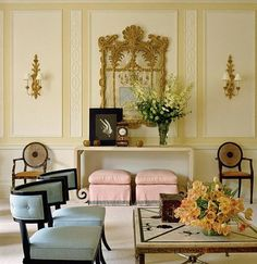 Gorgeous pastel hued room designed by Albert Hadley.