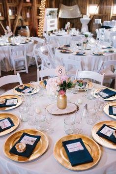 Gold table decor navy napkin wedding places, pink and gold wedding, gold ch Pink Wedding Decorations, Wedding Centerpieces, Wedding Colors, Wedding Flowers, Wedding Tables, Wedding Reception, Wedding Ideas, Gold Table Decor, Deco Table