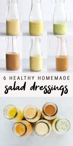 6 healthy homemade salad dressing recipes that are super easy to make — from a basic balsamic vinaigrette to peanut, honey mustard and cilantro lime, these delicious dressings will take your salads to Healthy Chicken Recipes, Healthy Cooking, Cooking Tips, Cooking Recipes, Paleo Recipes, Basic Cooking, Flour Recipes, Food Tips, Asian Recipes
