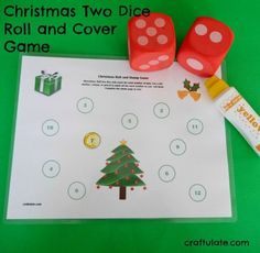 This two dice roll and cover game has a Christmas theme! It is perfect for kids who are starting tolearn basic addition.