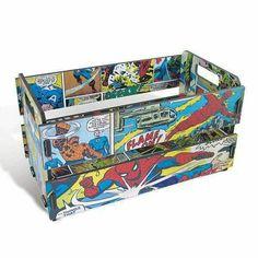 Mini Marvel Comics Kiste - Geek / Nerd - New Ideas Kids Furniture, Painted Furniture, Refurbished Furniture, Comic Book Rooms, Star Wars Decor, Geek Decor, Geek Gifts, Recycled Art, Diy Wood Projects