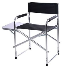 Folding Directors Chair With Side Table Outdoor Aluminium Camping Actor Style UK #FoldingDirectorsChair