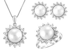 $19.99 - Choice of Pearl and White Diamond Earrings, Ring or Pendant in Sterling Silver