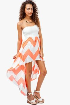 AGACI Neon Zig Zag Bustier Hi Lo Dress - DRESSES