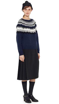 AUTUMN WINTER 14 - Indigo cashmere fairisle hand knit jumper, dark navy wool kilt, black wool hat (MHL), charcoal wool sock (MHL), black leather sandal
