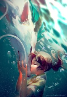 Girl and Wolf Underwater Kiss