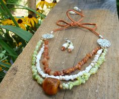 olive jade, orange agate, mother of pearl multi strand bib necklace with…