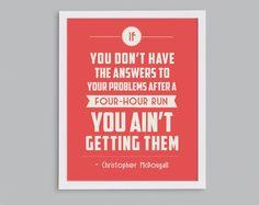 Running Answers Problems Retro Print - Marathon Training Inspirational Exercise Quote - 8x10. $15.00, via Etsy.