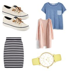 """""""Comfy Yet Cute"""" by abbacaddaba18 on Polyvore featuring MANGO, Chicwish, T By Alexander Wang, Sperry and Kate Spade"""