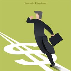 Businessman running in money direction