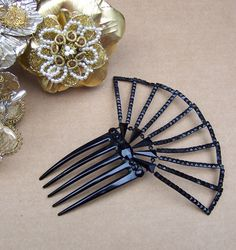 Antique hair comb French Jet sunray comb hair by ElrondsEmporium