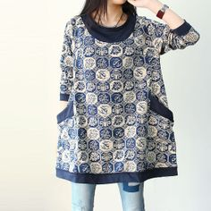 Women cotton round Collar long sleeved long shirt by MaLieb, $89.00