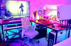 Adding a touch of class and style to a game room helps you create the ultimate . Focus the design on your game of choice and 12 Best Game Room Ideas Furniture Computer Desk Setup, Gaming Room Setup, Pc Setup, Gaming Rooms, Gaming Computer, Music Studio Room, Studio Setup, Game Room Design, Gamer Room