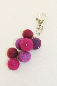 Wool Needle Felted Keychain Bag Charm with Bunch by LiviasDreams
