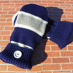 Fleece Lined recycled sweater mittens upcycled sweater mittens ladies sweater gloves reclaimed sweater repurposed gloves navy gray