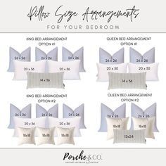 Selecting the perfect throw pillows for your bed // Advice from Porche & Co- your Online Interior Design central Throw Pillows Bed, Bed Throws, Cushions On Bed, Bed Pillow Arrangement, Home Bedroom, Bedroom Size, Master Bedroom Design, Master Suite, My New Room