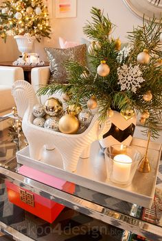 Christmas Decor Ideas: gold, silver, pink, orange, grey and white (Blogger Stylin Christmas Home Tour)