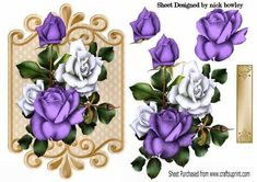 purple and white roses on ornate plaque on Craftsuprint designed by Nick Bowley - purple and white roses on ornate plaque, makes a pretty card, can be seen in other designs and colours - Now available for download!