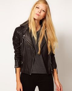 Whistles | Whistles Marlon Quilted Leather Jacket at ASOS