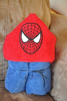 Spiderman Hooded Towel by Madeformonkeys on Etsy, $25.00