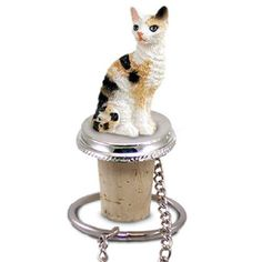 Cornish Rex Tortoise & White Cat Bottle Stopper