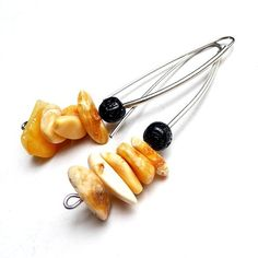 Genuine Butterscotch Amber, Eggyolk amber and lava. Long earrings hand made // Prezent. Bursztyn mleczny i lawa.Kolczyki długie