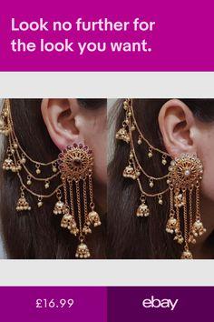 Indian Jewellery & Watches #ebay Indian Jewelry Earrings, Jewelry Design Earrings, Ear Jewelry, Ethnic Jewelry, Jewelry Accessories, Antique Jewellery Designs, Fancy Jewellery, Bridal Jewellery, Antique Jewelry