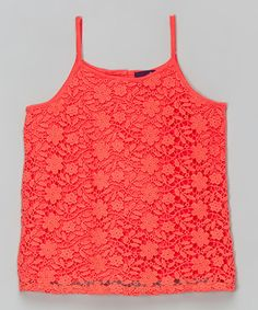 Another great find on #zulily! Coral Lace-Overlay Tank by Dex #zulilyfinds
