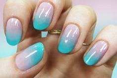 Gradient nails are a twist on the classic solid manicure. ~Base/top coats colors of nail polish (pr. Spring Nail Trends, Spring Nails, French Nails Diy, Art D'ongles Pastel, Pretty Pastel, Cute Nails, Pretty Nails, Cotton Candy Nails, Gradient Nails