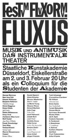 FesTum FLuXoRum. FLUXUS. Musik und anti-musik das instrumentale theater. Dusseldorf, feb. 2 & 3, 1963