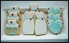 Bridal Shower Cookies~       By Sugar Tree Cookies, White wedding dress, tiffany heart, white wedding cake