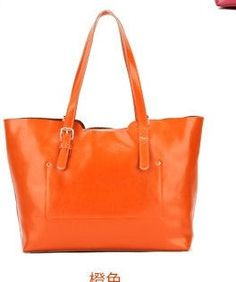 orange candy classic style soft genuine leather tote by starbag, $49.59