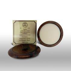 Sandalwood Shave Soap 100g in Wooden Bowl