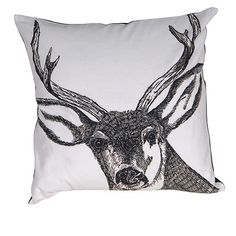Large Stag's Head Duck Feather Cushion (Multiple colours)