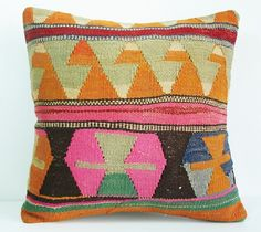 Hand Embroidered-Turkish Kilim Pillow Cover