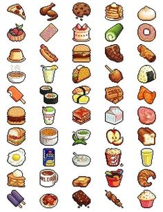 50 lil pixel foods (there should be a part 2 forthcoming EVENTUALLY) does anyone have any suggestions for other foods to attempt? Pixel Art Food, Pixel Art Games, 8 Bits, Habbo Pixel, Image Pixel Art, 8bit Art, Isometric Art, Food Drawing, Food Illustrations