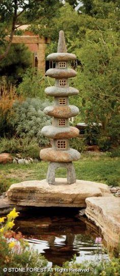 natural stone pagoda lantern- I love this! Japanese Plants, Japanese Landscape, Japanese Gardens, Japanese Stone Lanterns, Garden Lanterns, Asian Garden, Forest Garden, Kintsugi, Garden Stones