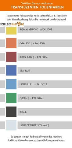 Folienfarben transluszendent