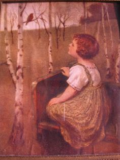 Spring Song ~ little blind girl listening to the first robin of spring is the daughter of artist Simon Glucklich.  My mother has this framed with an attached mirror......so love it!!!