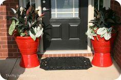 Black Front Door, gloss red planter